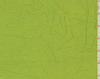 Citrus Green Crinkled Satin, Fabric By The Yard