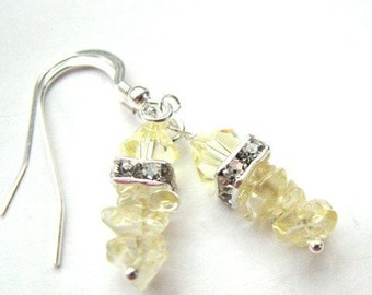 Simple Sunlight - Citrine Gemstone and Rhinestone Earrings in lovely pale yellow