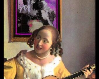 VERMEER Decorative Wooden Jewelry Box Altered Art: Guitar Player Decobox