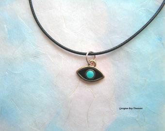 Turquoise and rose gold tone enamel evil eye pendant gift under 20 gift for her GBT315