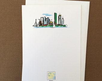 Red Maps Boston Skyline Flat Card Stationery Set