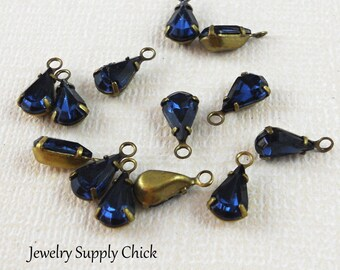 Swarovski Montana crystal teardrop (x6)