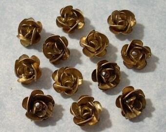 12 Vintage Brass Rose Beads 8mm