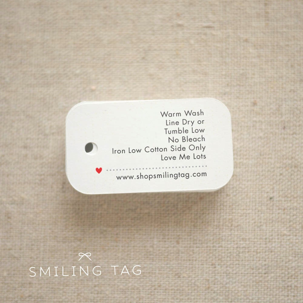 Personalized Care Labels Instructions Tags Etsy Product Tag