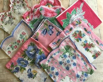 Sweet Vintage Assortment of Hankies - Pink - Lot of 8