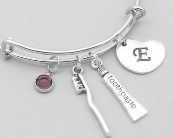 Toothbrush & toothpaste bracelet with heart initial | dental jewellery | dentist gift | dental hygienist gift | teeth