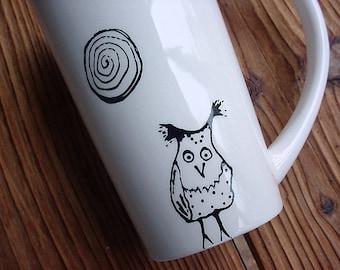 Hazel owl coffee mug latte black and white pottery