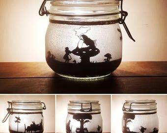 Alice in wonderland jar light with Cheshire cat, mad hatter, white rabbit (based on original Tenniel illustrations). Mason jar, fairy jar