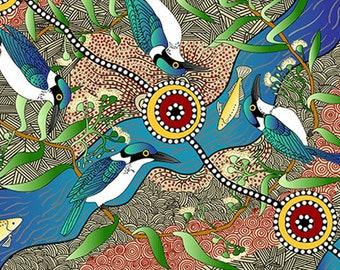 Australian Fabric - Bird Print - Aboriginal Fabric - Nambooka -  Kingfisher - Ecru - Priced by the half yard