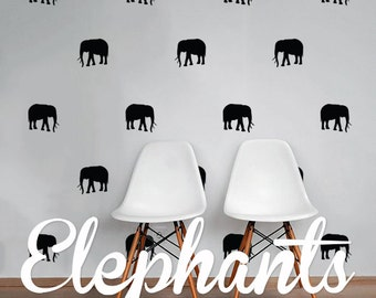 Elephants Wall Decal Pack, Vinyl Wall Sticker Decal Art Pattern WAL-2190