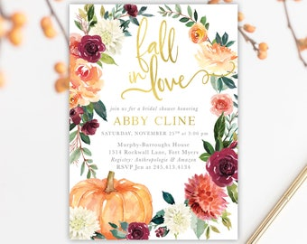 Fall In Love Bridal Shower Invitation, Burgundy, Blush, Orange, Pink Fall Florals, Greenery Pumpkin Invite - Printed Printable - Fall 7