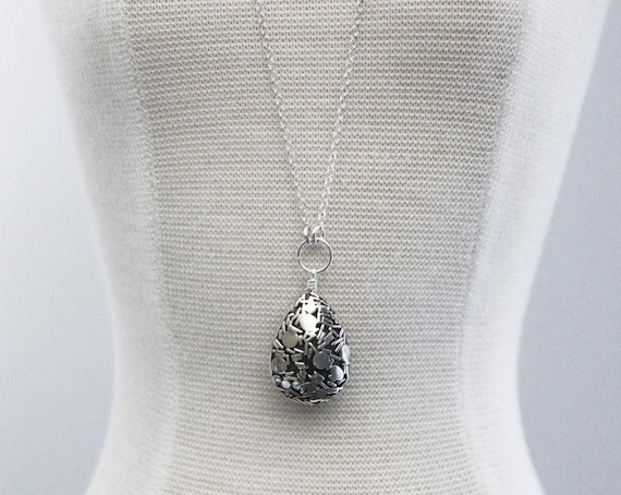 Balinese sterling silver teardrop pendant on long chain like this item mozeypictures Gallery