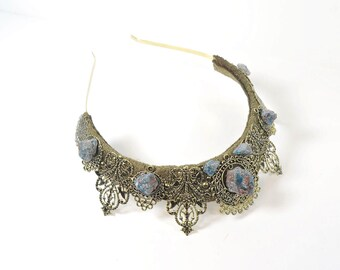 Blue Apatite Stone Crown - Queen of the Ruins Series - by Loschy Designs