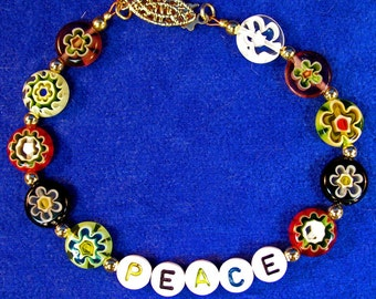 PEACE Bracelet with Multicolored Glass Flower Beads