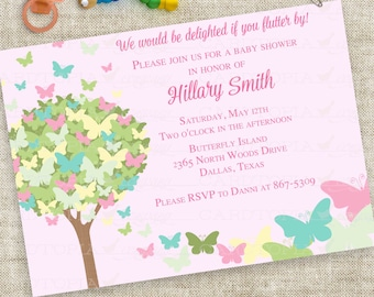 Butterfly Baby Shower Invitation in Pink Green Blue Personalized Custom Digital Printable File with Professional Printing Option