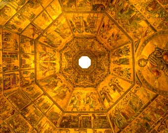 Florence Photography Florence Duomo Photo Baptistry Ceiling Italy Photograph Gold Dome Cathedral ita106