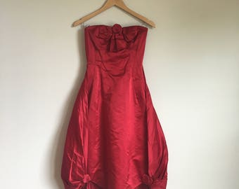 1950's Helena Barbieri Red Satin Strapless Bubble Dress