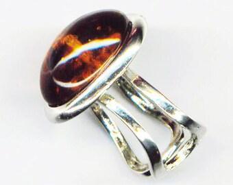 Adjustable  Silver Plated Ring . German Glass Cabochon . Caramel Cognac Amber - Beautiful Amber by enchantedbeas on Etsy