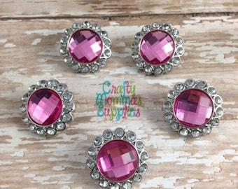 ON SALE Pink Rhinestone Buttons, 5 Acrylic Buttons, 23mm, Baby Headband, Newborn Headband, Hair Bows, Wholesale, DIY Wedding, Crafts  23-008