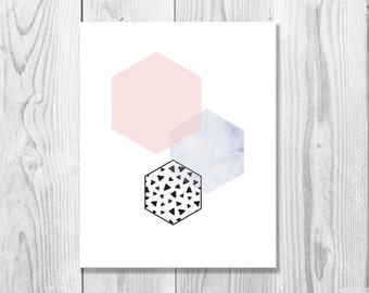 Geometric Hexagon Print, Minimalist Print, Watercolor Print, Modern Print, Geometric Art, Digital Download, Triangles Print, 8x10