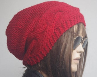 Womens hats, winter hat, oversize cable Knit Hat red Winter Accessories, chemo hat Women Slouchy Hat, valentines day