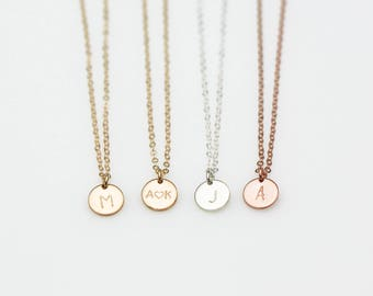 Tiny Disc Necklace N207 • custom hand stamped, circle, disk, initial necklace, name necklace, personalized necklace, bridesmaids gift