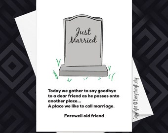 Farewell Friend - Just Married / Adult Humour Card / Alternative Greeting Card / Wedding Card/ Humorous Wedding Card / Humorous Card