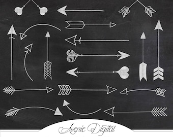 White chalkboard Arrow Clipart . Scrapbook printables, Tribal doodle arrows Commercial Use. Hand drawn archery graphics for logos Download.