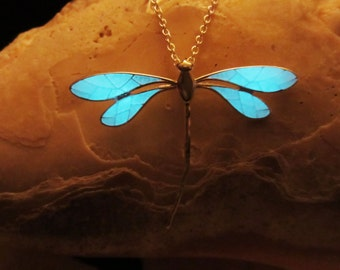 Dragonfly pendant with sterling silver chain glow in the dark
