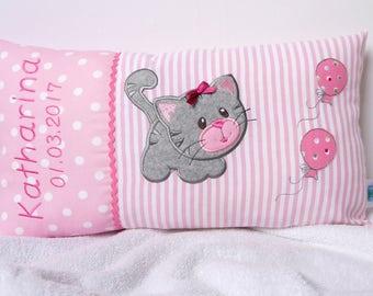 Personalisiertes Kissen zur Geburt oder Taufe, mit Motiv Katze, in rosa, aus Baumwollstoff, ein tolles Kuschelkissen, für Kinder.