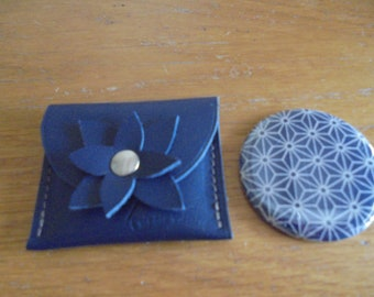 Pocket mirror and blue leather case