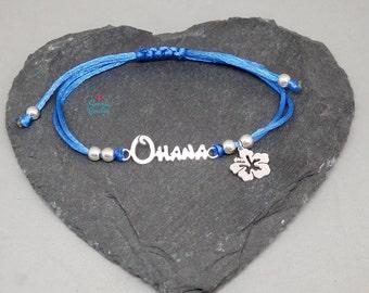 Ohana and Hawaiian flower Lilo and Stitch Disney bracelet | Ohana bracelet | Sterling Silver Ohana flower |hawaiian flower bracelet