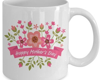Happy mother's day pink floral - coffee mug