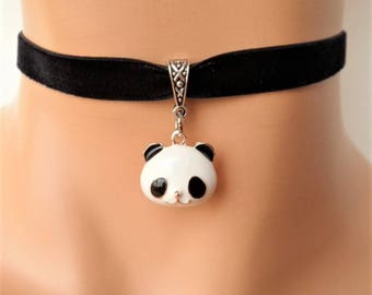 panda choker, black velvet choker, stretch ribbon, panda necklace