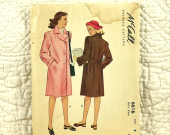 Girls Coat, M, 1948, Cut Complete, McCalls 6616 Pattern, Front Buttons, Notched Collar, Back Belt, Knee Length, Size 8