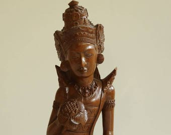 Indonesian Carved Wooden Sculpture of a Hindu Dancing Goddess - Art Deco Style - Balinese Wood Art - 1950s