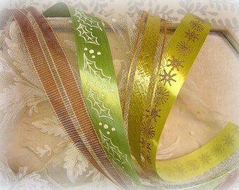 4 partial rolls vintage decorative ribbon . christmas greens gold and brown