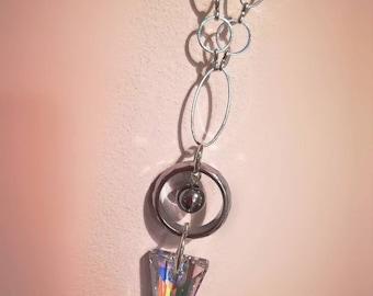 Swarovski crystal spike pendant on long open chain