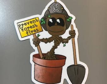 Baby Groot Firefighter Sticker