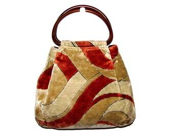 Vintage 60s 70s Rust Orange Cream & Blonde Abstract Velour Carpet Handbag Purse