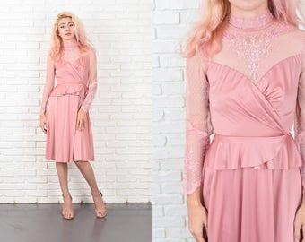 Vintage 70s Pink Boho Dress Victorian Hippie Peplum Puff Slv XXS Lace 10508