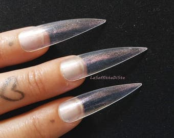 fake nails clear medium long stiletto false nails iridescent pink pearlescent costume wag drag queen false uñas cosplay men lasoffittadiste