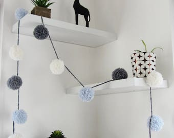 White grey blue Pom Pom Garland