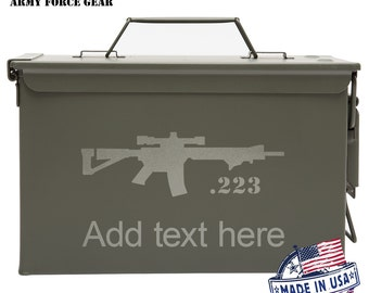 223 Rifle Caliber Custom Engraved 30/50 Cal Ammo Can Personalized Dad Gift Cool Guy Gifts Father's Day Gift Grandpa Gift Groomsmen Hunter