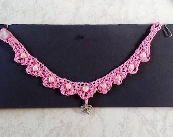 Hand crochet choker necklace