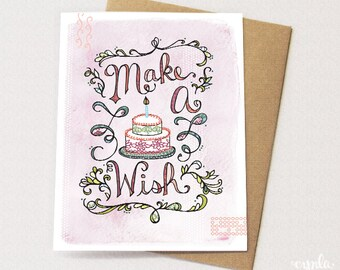 Make a Wish Cake Card - Blank card for birthday, Birthday Card