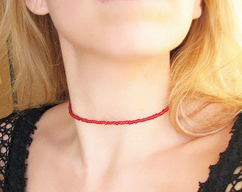 Red Beaded Choker Necklace Red Choker Beaded Necklace Glass Necklace