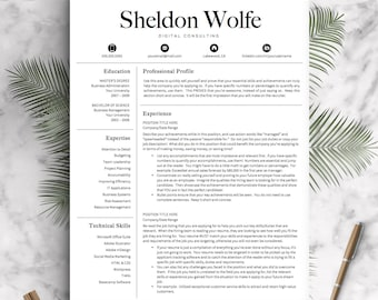 Professional Resume Template for Word and Pages | Professional CV Template | 1, 2 and 3 Page Resume Template, Icons | Instant Download