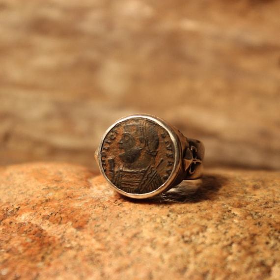 Antique Ancient Roman Coin Ring Size 11.5 Vintage Sterling Silver Soldier Ring 10.7 Grams Roman Coin Ring Mens Silver Ring Mens Ring Roman