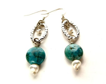 Gemstone and Pearl Dangle Earrings, Teal Chrysocolla Everyday Jewelry